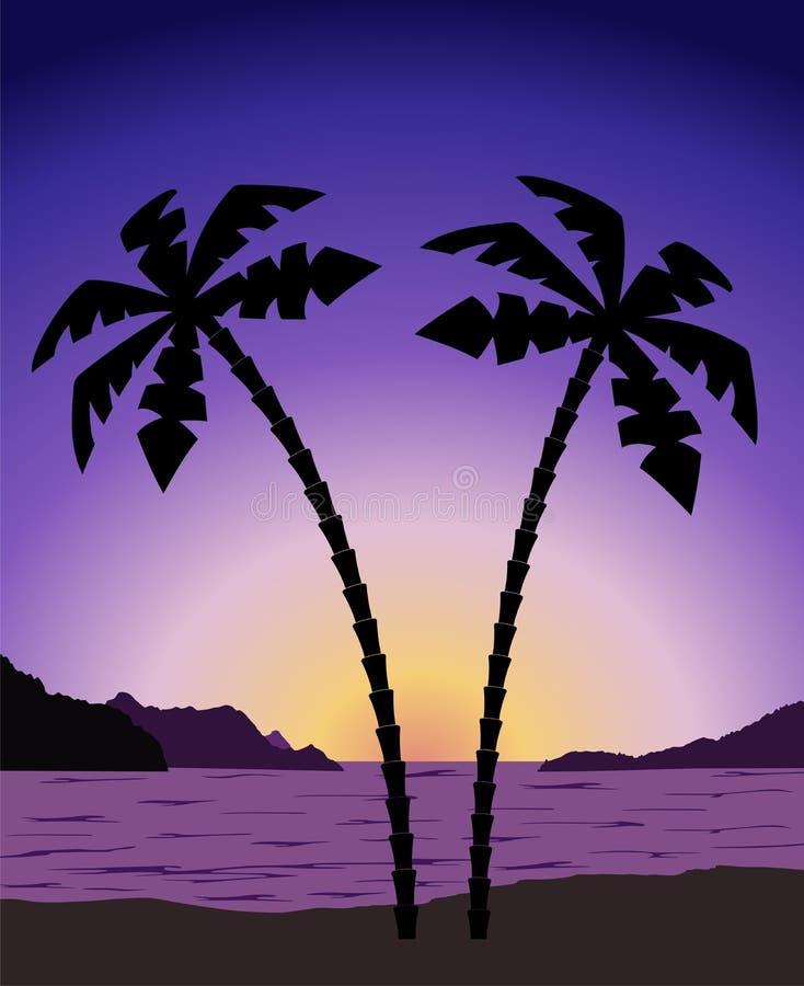在日出(日落)的棕榈树 向量例证