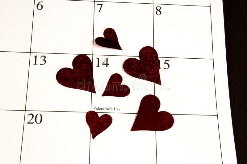 在日历的情人节 免版税库存照片