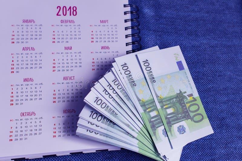 在日历的背景,财政规划的欧元 图库摄影