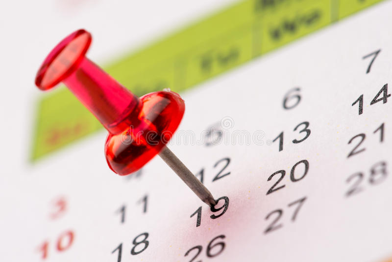 在日历的Pin 免版税库存图片