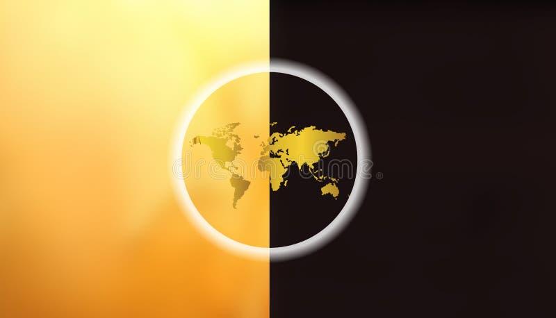 在日夜世界地图,地球日概念- 2017年7月22日的地球 向量例证