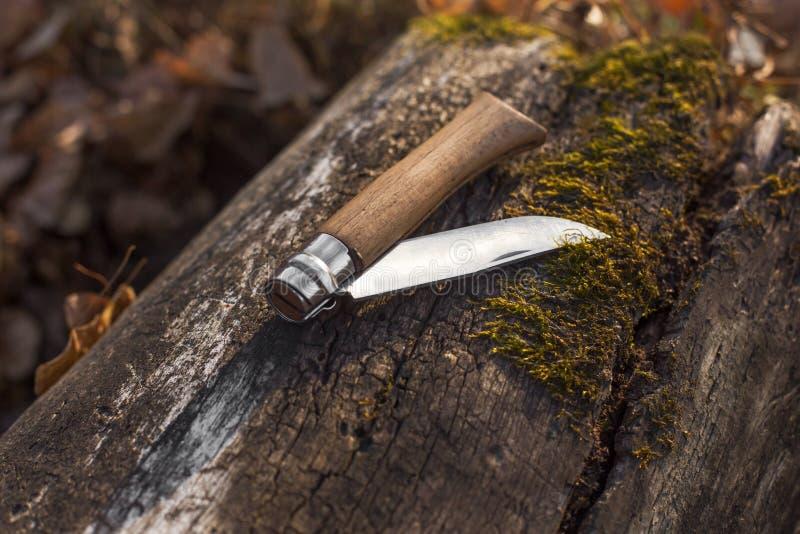 在日志的折叠的刀子 免版税图库摄影