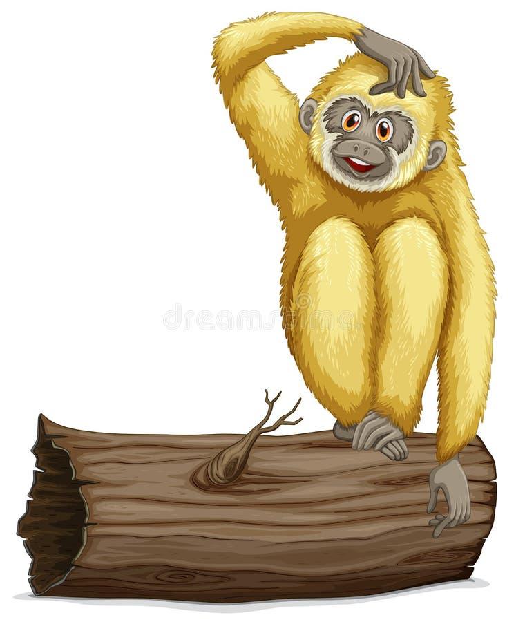 在日志的长臂猿 库存例证