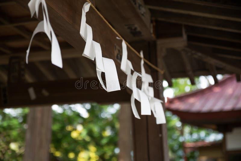 在日文的祷告纸 免版税库存图片