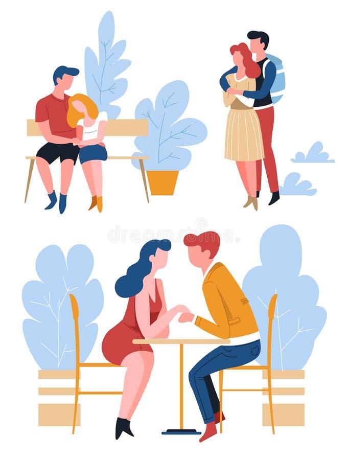 在日期被隔绝的字符的夫妇爱并且关心关系 库存例证