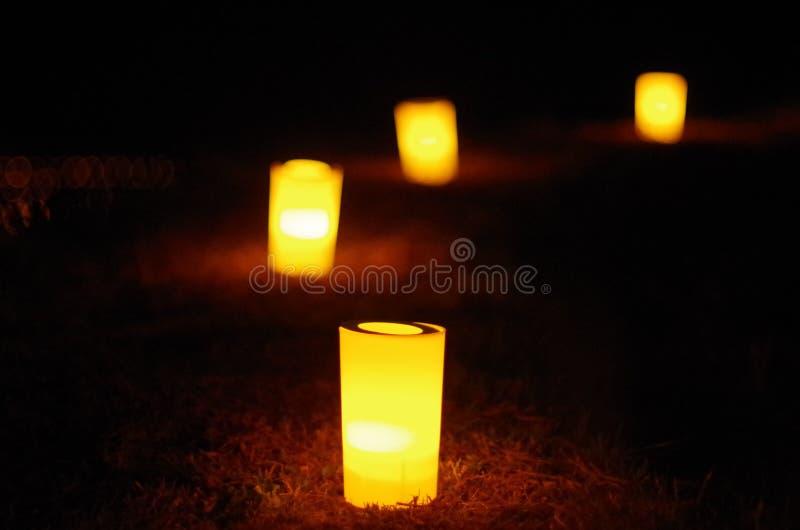 在日本农场的蜡烛 免版税库存照片