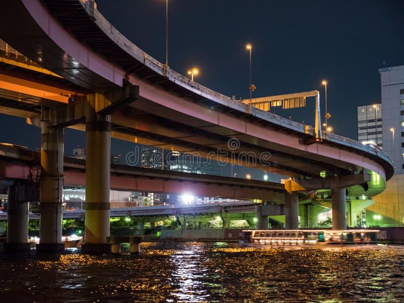 在日本夜视图的连接点 免版税图库摄影