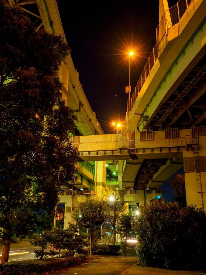 在日本夜视图的连接点 图库摄影