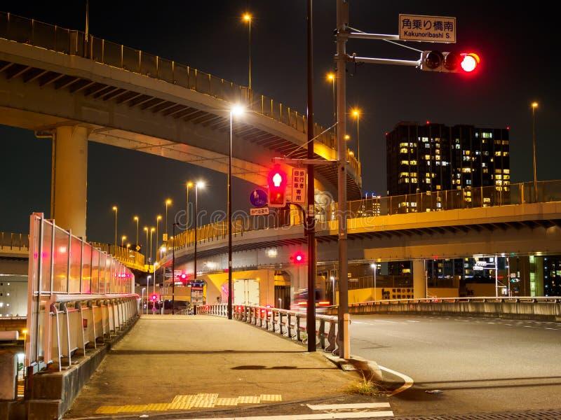在日本夜视图的连接点 库存照片