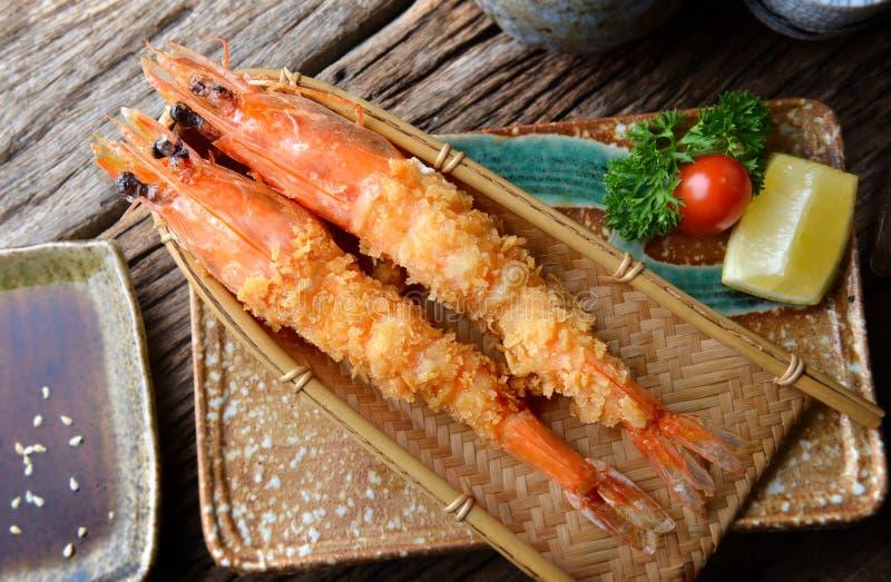 在日本式或ebi furai的被油炸的虾 库存照片