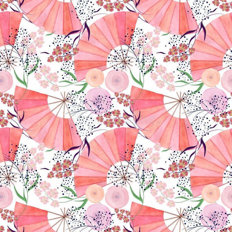 在日本式的无缝的五颜六色的花卉样式背景 向量例证