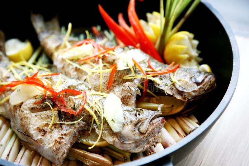 在日本式的被蒸的石斑鱼在板材在餐馆 免版税库存图片