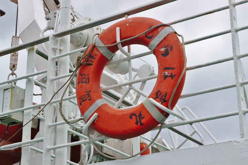 在日本船的Lifebuoy 图库摄影