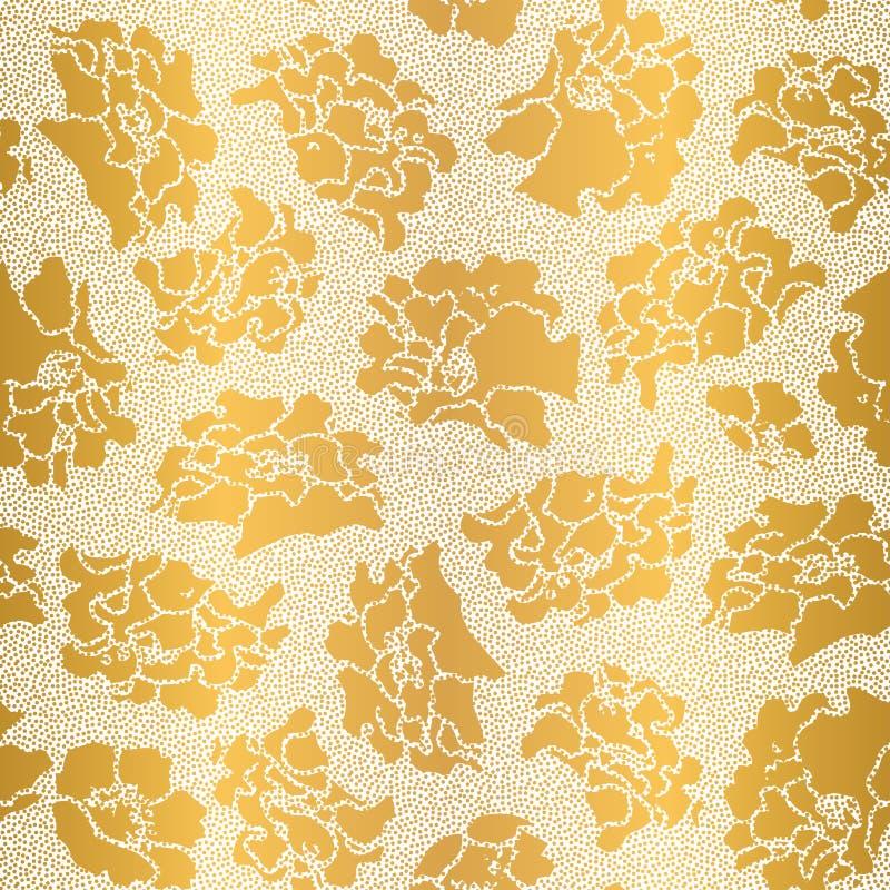 在日本风格的金黄樱花与小小点 在金箔的减速火箭的手拉的花卉植物的背景在fa的白色 皇族释放例证