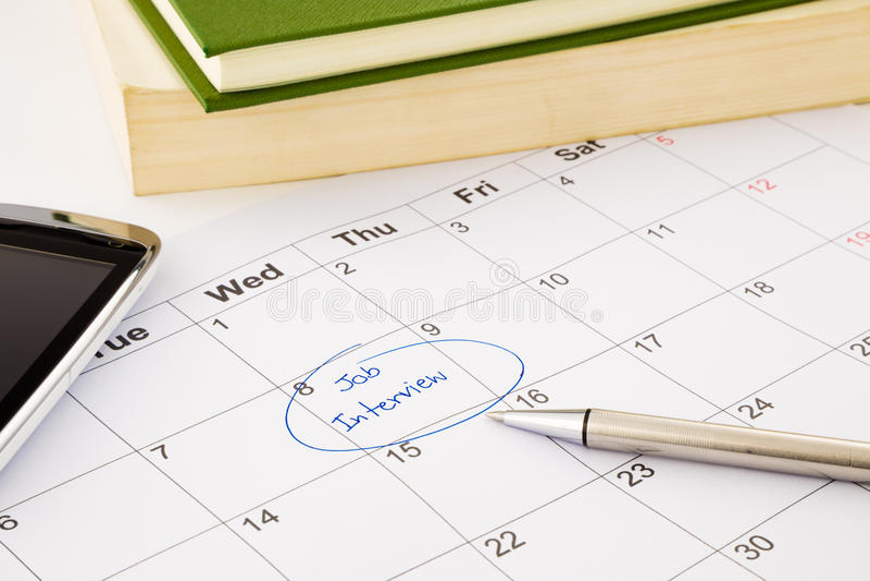 在日程表的工作面试任命 免版税库存照片