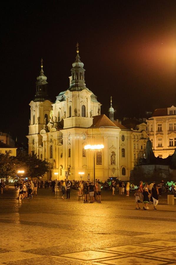 在日落以后的布拉格 欧洲,捷克共和国 免版税库存图片