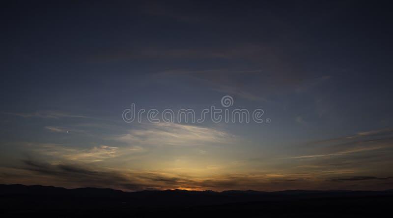 在日落以后的美丽的天空 库存图片