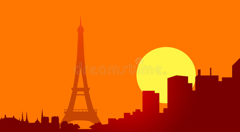 在日落传染媒介的埃佛尔铁塔 库存例证