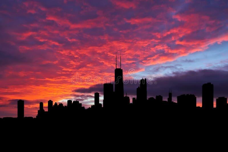 在日落例证的芝加哥地平线 免版税图库摄影