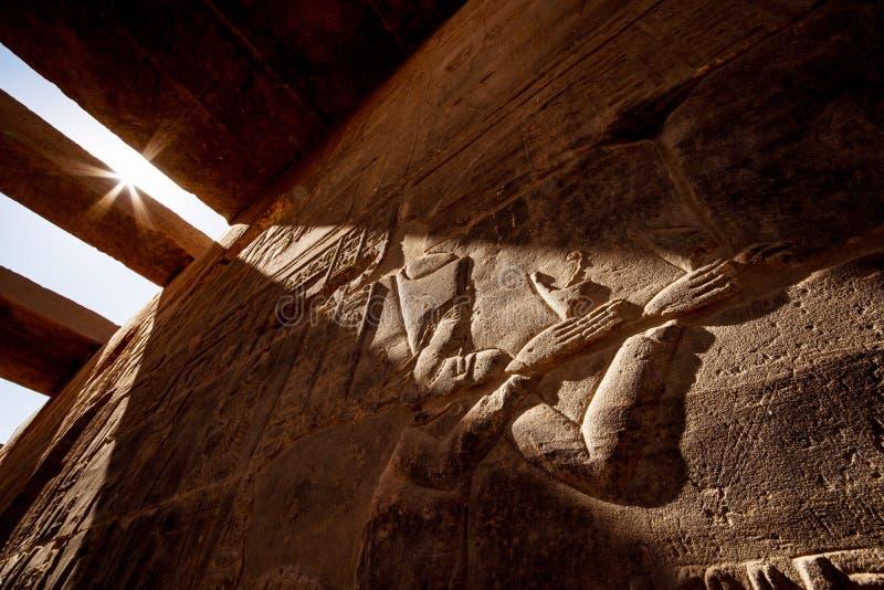 在日落光的古老埃及hyeroglyphs背景在阿斯旺寺庙菲莱在埃及 免版税库存图片