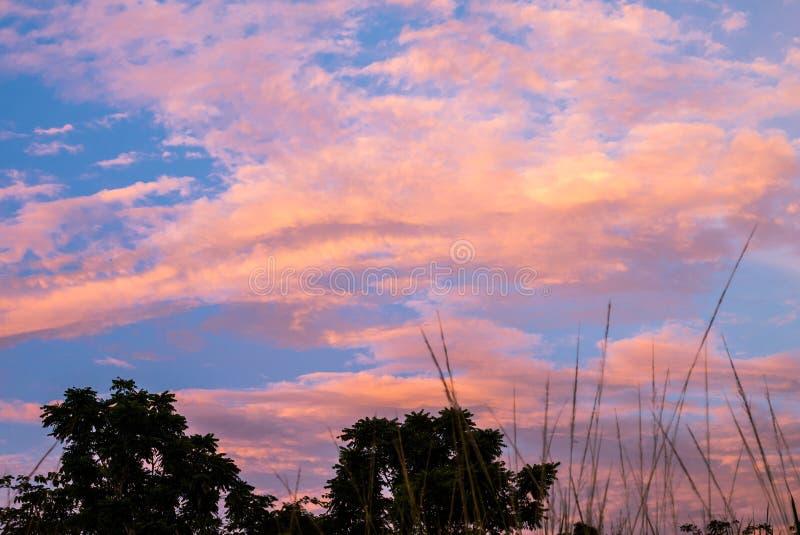 在日落前的暮色天空 免版税库存图片