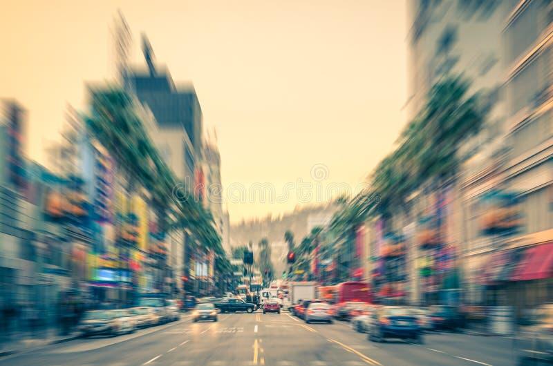 在日落前的洛杉矶-好莱坞大道-名望步行  库存照片