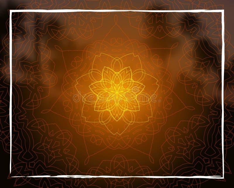 在日落回归线的发光的花卉坛场弄脏了背景 皇族释放例证
