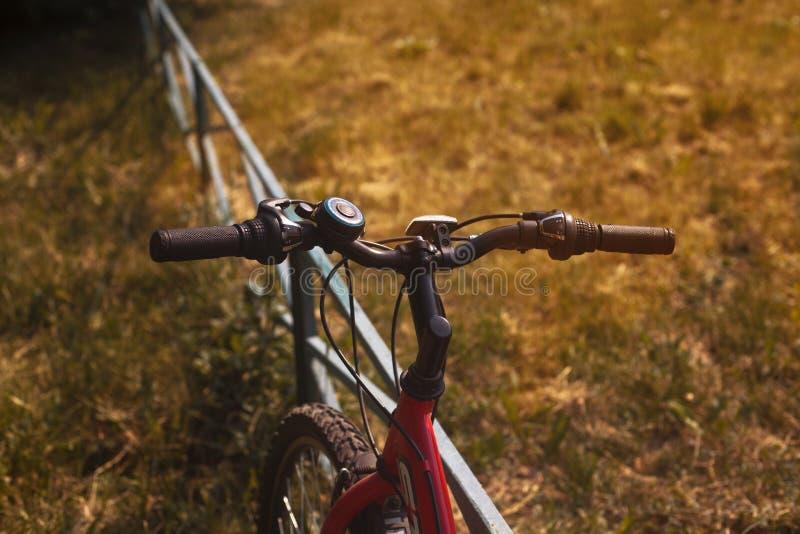 在日落太阳的自行车把手在草坪 免版税库存图片