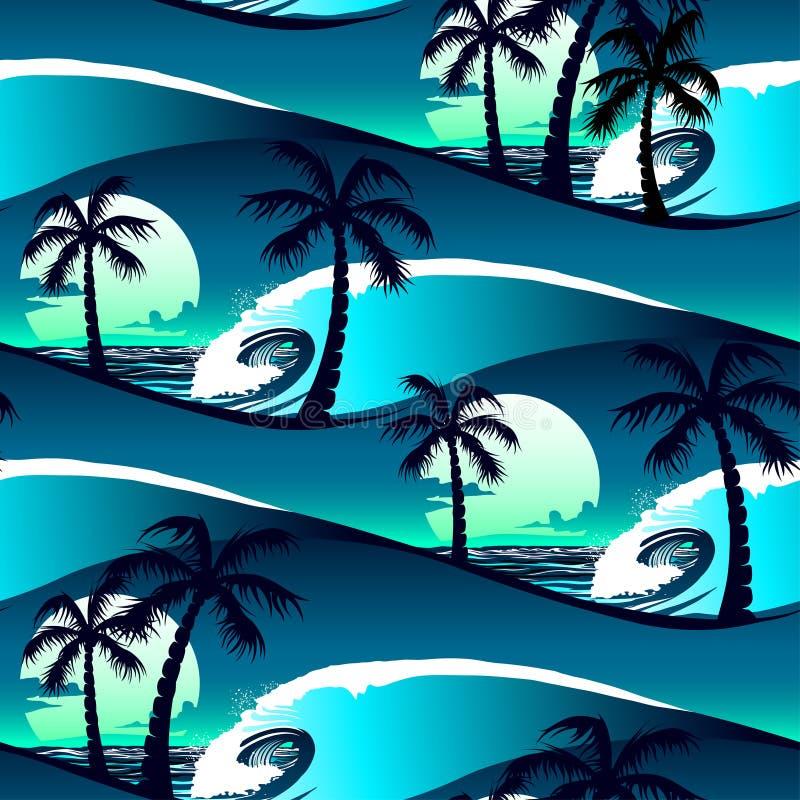 在日落无缝的样式的热带木槿和棕榈树 向量例证