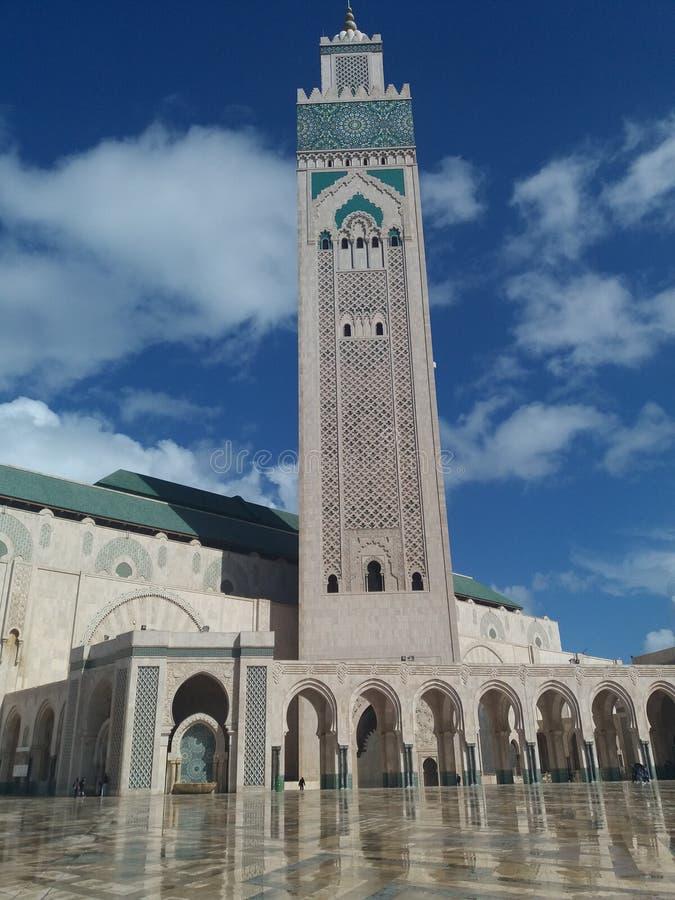 在日落期间的哈桑二世清真寺-卡萨布兰卡,摩洛哥2卡萨布兰卡2018年 免版税图库摄影