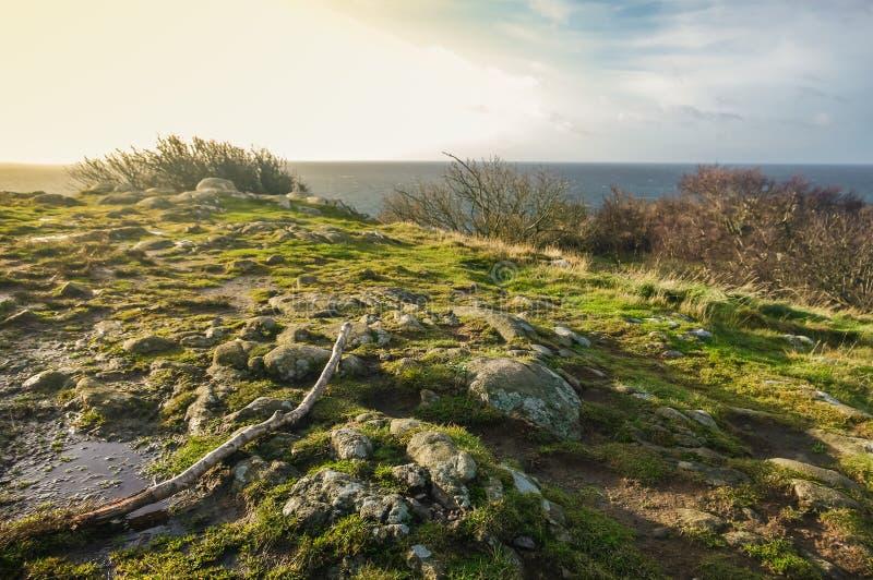 在日落期间的岩石岸 免版税库存照片