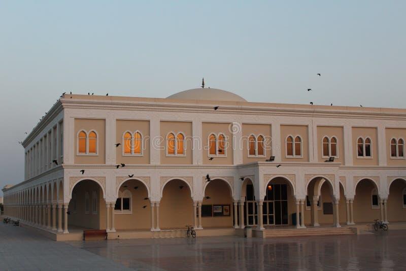 在日落期间的教学楼与在美国大学的鸟在阿拉伯联合酋长国 免版税库存图片
