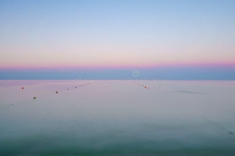 在日落期间的海景在乌克兰的Odesa 免版税库存图片