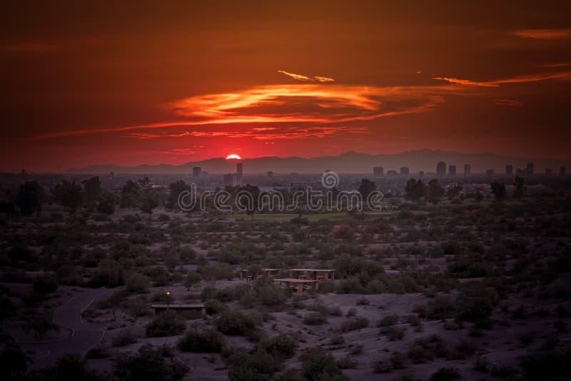 在日落期间的菲尼斯,亚利桑那都市风景 免版税库存图片