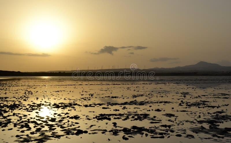 在日落期间的盐湖 免版税库存照片
