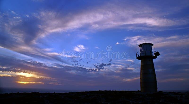 在日落期间的Yorkes灯塔 免版税库存图片