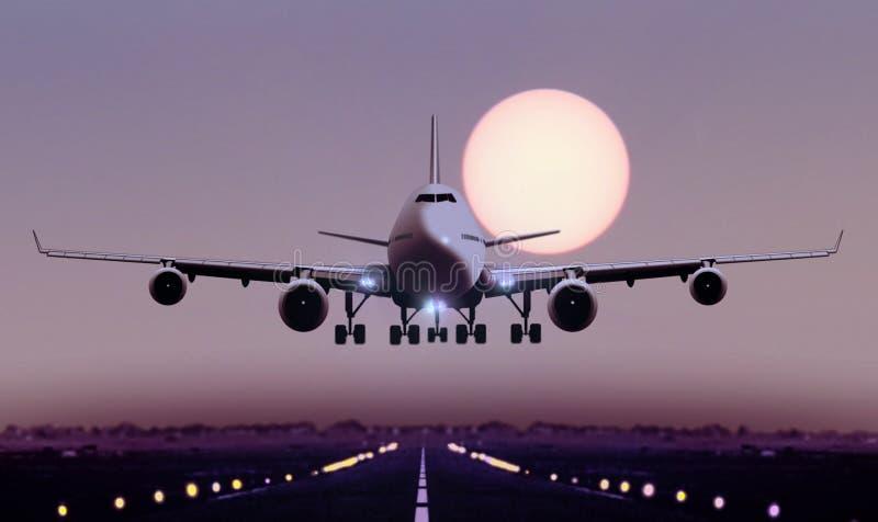 在日落期间,飞机着陆 库存照片