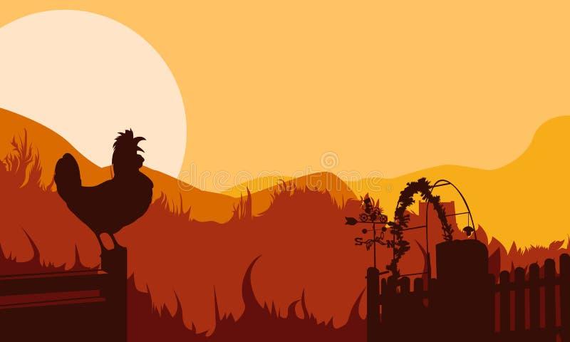 在日落森林剪影的背景鸡 图库摄影