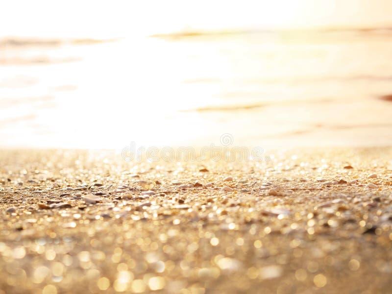 在日落海滩背景的金黄沙子 图库摄影