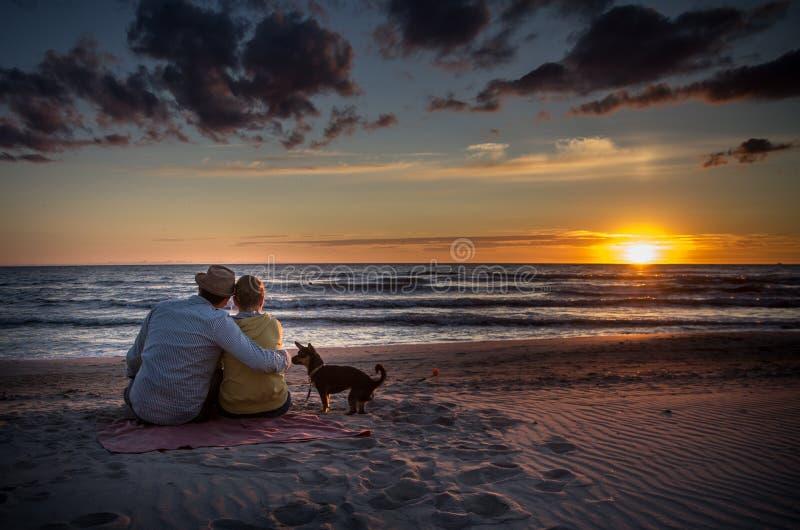 在日落海的爱恋的家庭 库存照片