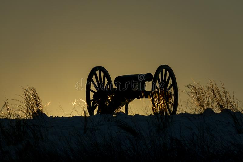 在日落的争斗 免版税图库摄影