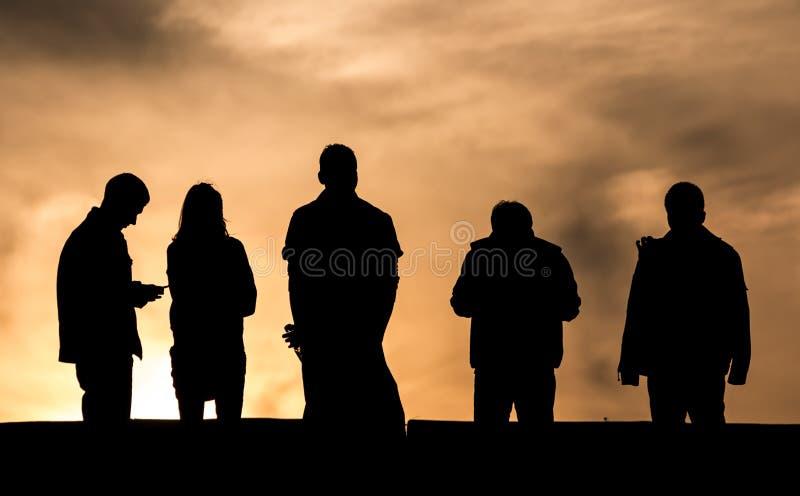 在日落的剪影 免版税图库摄影