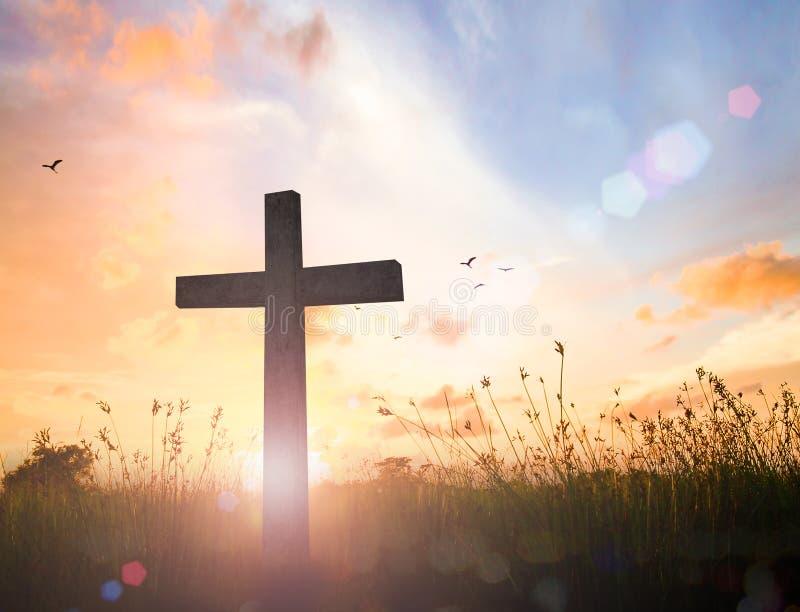 在日落的十字架 图库摄影