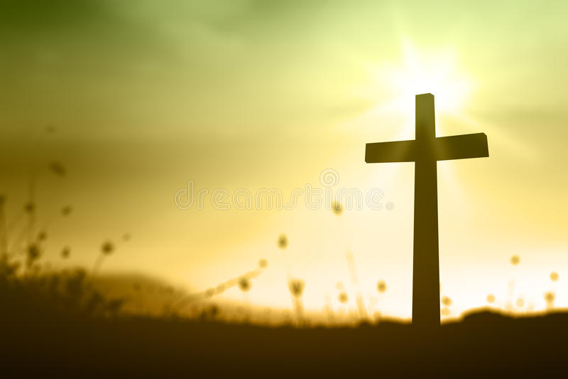 在日落的十字架 库存图片