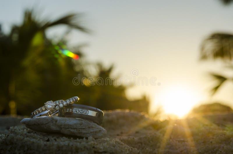 在日落的圆环 图库摄影