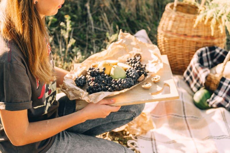 在日落的夏天野餐在格子花呢披肩、食物和饮料构想生活方式晴朗的天气 免版税库存图片