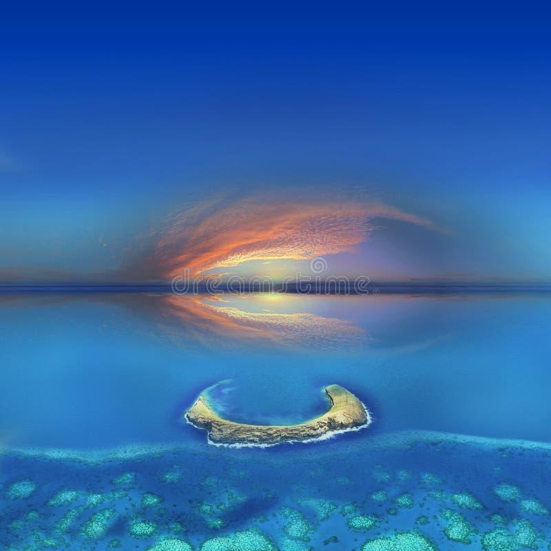 在日落的夏威夷molokini 图库摄影