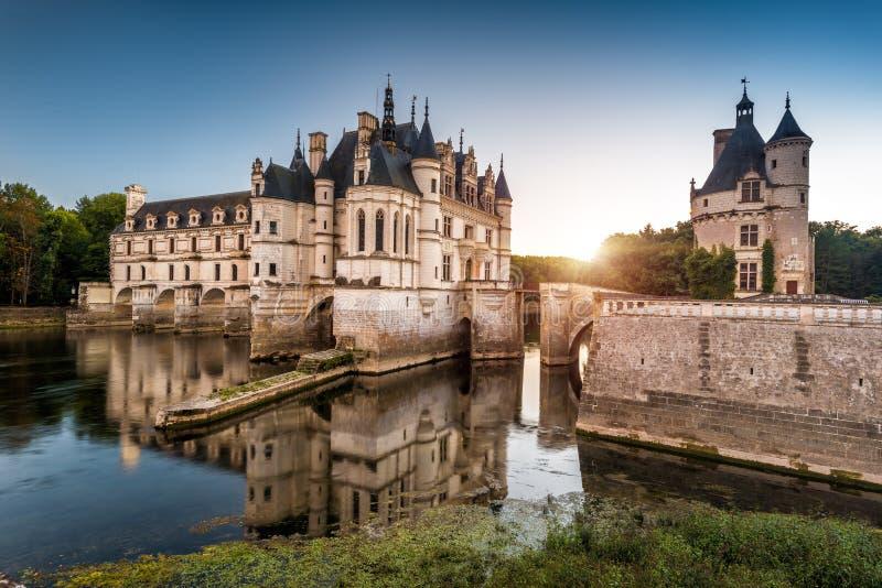 在日落的大别墅de Chenonceau城堡,法国 库存照片