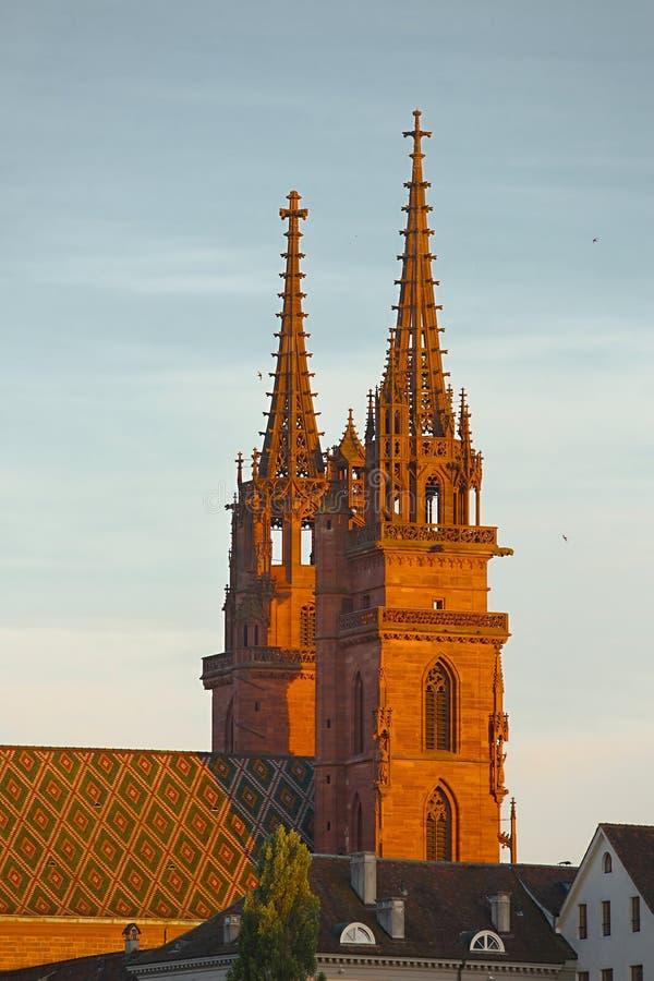 在日落的大教堂塔 图库摄影