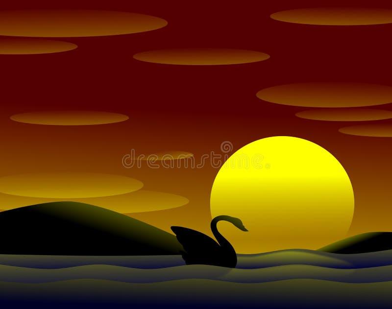 在日落的天鹅 皇族释放例证